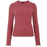 Deep Pink Ribbed Frill Trim Long Sleeve Top New Look