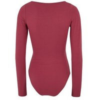 Deep Pink Long Sleeve Seam Front Bodysuit New Look