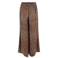 Tall Brown Leopard Print Wide Leg Crop Trousers New Look