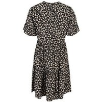 Tall Navy Floral Frill Sleeve Smock Dress New Look