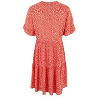 Tall Red Floral Frill Smock Dress New Look