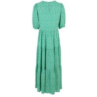 Tall Green Floral Puff Sleeve Smock Midi Dress New Look
