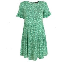 Petite Green Ditsy Floral Frill Sleeve Smock Dress New Look