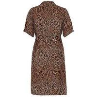 Maternity Brown Leopard Print Shirt Dress New Look