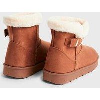 Tan Suedette Faux Fur Trim Flat Boots New Look Vegan