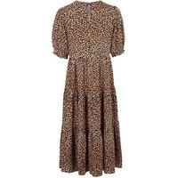 Petite Brown Leopard Print Smock Midi Dress New Look