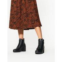 Black Lace Up Block Heel Chunky Boots New Look Vegan