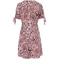 Pink Animal Print Tie Puff Sleeve Mini Dress New Look