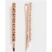 2 Pack Rose Gold Skinny Diamante Hair Slides New Look