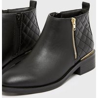 Girls Black Quilted Panel Ankle Boots New Look Vegan
