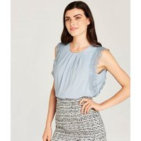 Apricot Pale Blue Lace Trim Sleeveless Blouse New Look