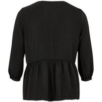 Curves Black Button Up Peplum Blouse New Look