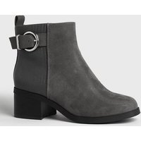 Girls Grey Faux Snake Panel Buckle Ankle Boots New Look Vegan
