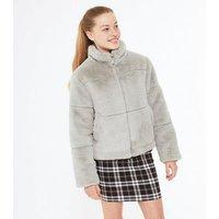 Girls Grey Faux Fur Puffer Jacket New Look