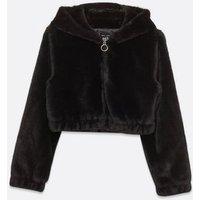 Girls Black Faux Fur Hooded Jacket New Look