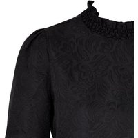 Blue Vanilla Black Floral Jacquard Shirred Neck Dress New Look