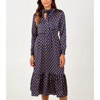 Blue Vanilla Navy Spot Tie Neck Midi Dress New Look