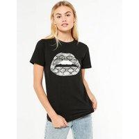 Black Metallic Snake Lips Print T-Shirt New Look