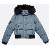 Girls Pale Blue Faux Fur Hooded Puffer Jacket New Look