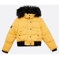 Girls Yellow Faux Fur Hooded Puffer Jacket New Look
