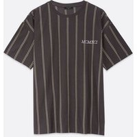 Dark Grey Stripe Embroidered T-Shirt New Look