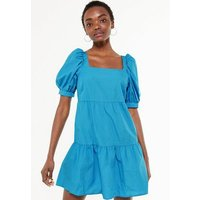Turquoise Puff Sleeve Poplin Smock Dress New Look