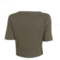 Khaki Ribbed Knit Boxy T-Shirt New Look
