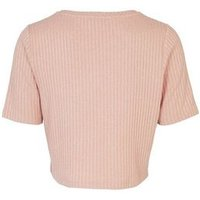 Pale Pink Ribbed Knit Boxy T-Shirt New Look