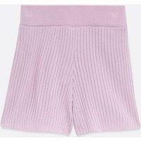 Lilac Ribbed Knit Shorts New Look