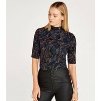 Apricot Black Feather High Neck Top New Look