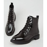 Wide Fit Black Patent Lace Up Boots New Look Vegan