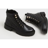 Black Quilted Faux Pearl Chunky Lace Up Boots New Look Vegan