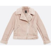 Girls Pale Pink Faux Fur Lined Aviator Jacket New Look