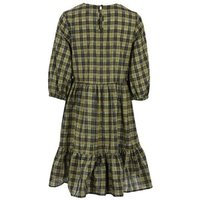 Khaki Check Puff Sleeve Smock Dress New Look