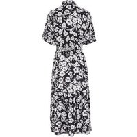 Black Floral Tiered Midi Shirt Dress New Look