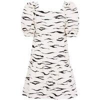 White Zebra Print Puff Sleeve Poplin Smock Dress New Look