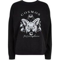 Black Cosmos Butterfly Slogan Sweatshirt New Look