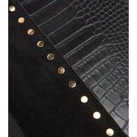 Black Faux Snake Studded Tote Bag New Look Vegan