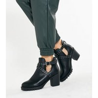 Wide Fit Black Cut Out Chunky Block Heel Boots New Look Vegan