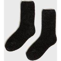 Black Super Soft Boucle Slipper Socks New Look