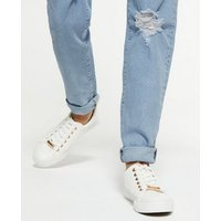 Girls Blue Ripped Tori Mom Jeans New Look