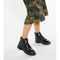 Wide Fit Black Faux Snake Lace Up Boots New Look Vegan