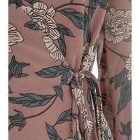 Wednesdays Girl Pink Floral Tie Sleeve Wrap Dress New Look
