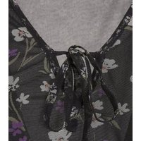 Wednesday's Girl Black Floral Mesh Dress New Look
