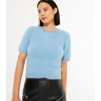 Pale Blue Short Sleeve Fluffy Knit Top New Look