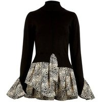Black Fine Knit 2 in 1 Leopard Print Top New Look