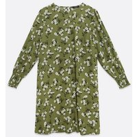 Curves Green Floral Smock Dress New Look