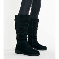 Wide Fit Black Suedette Slouch Knee High Boots New Look Vegan