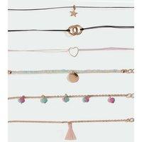 Girls 6 Pack Multicoloured Mixed Pendant Friendship Bracelets New Look