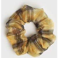 Girls Mustard Check Organza Scrunchie New Look